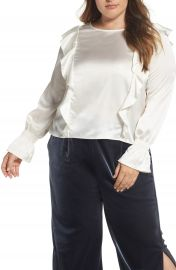 ELVI Satin Ruffle Top  Plus Size at Nordstrom