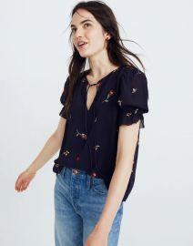 EMBROIDERED ZEPHYR RUFFLE-SLEEVE TOP IN SWEET BLOSSOMS at Madewell