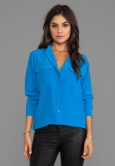 EQUIPMENT Signature Blouse in Klein Blue at Revolve