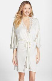 Eberjey Lace Trim Jersey Kimono Robe at Nordstrom