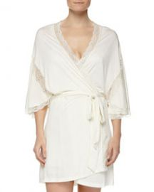 Eberjey Something Blue Robe with Lace Detail Ivory at Neiman Marcus