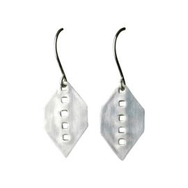 Eco Friendly Geometric Perforated Silver Earrings at Jess Kay Designs