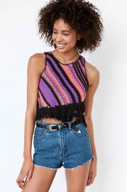 Ecote Diagonal Crochet Fringe Tank at Urban Outfitters