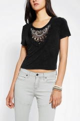 Ecote Embellished Acid Wash Crop Top at Urban Outfitters