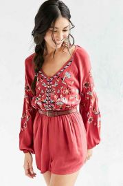 Ecote Embroidered Balloon-Sleeve Romper at Urban Outfitters