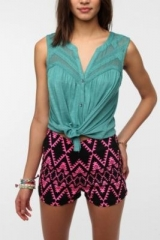 Ecote Layers Of Lace Tank Top in teal at Urban Outfitters
