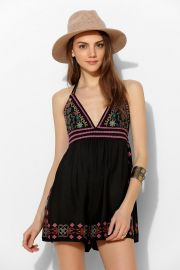 Ecote Lotus Embroidered Romper at Urban Outfitters