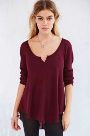 Ecote Marley Thermal Top in maroon at Urban Outfitters