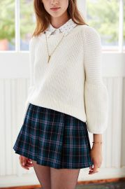 Ecote Plaid Inverted Pleat Mini Skirt in green at Urban Outfitters