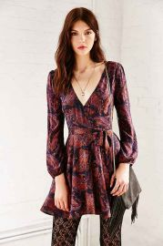 Ecote Ruby Mini Wrap Dress at Urban Outfitters