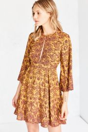 Ecote Tyler Split-Neck Bell-Sleeve at Urban Outfitters