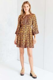 Ecote Tyler Split-Neck Bell-Sleeve Mini Dress at Urban Outfitters