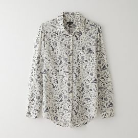 Ecru map print silk boyfriend shirt at Steven Alan
