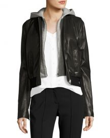Edison Combo Lamb Leather Moto Jacket w/ Hoodie at Bergdorf Goodman