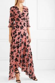Edith ruffled flocked chiffon maxi dress at Net A Porter