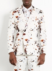 Eggshell print suit at Topman