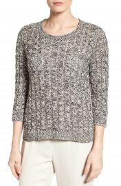Eileen Fisher Organic Cotton Cable Tape Yarn Sweater  Regular   Petite at Nordstrom