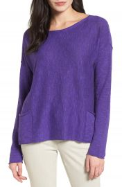 Eileen Fisher Organic Linen   Cotton Knit Boxy Top  Regular   Petite at Nordstrom