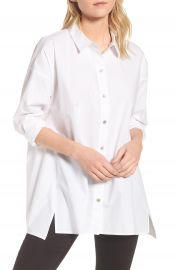 Eileen Fisher Stretch Organic Cotton Swing Shirt  Regular   Petite at Nordstrom