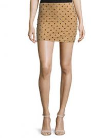 Elana Studded Suede Mini Skirt Tan at Neiman Marcus