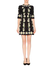 Elbow-Sleeve Cady Daisy Dress at Neiman Marcus