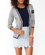Elbow patch varsity cardigan from Forever 21 at Forever 21