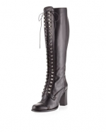 Elena's black lace up boots at Last Call