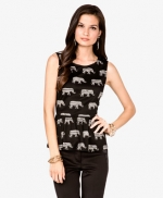 Elephant print peplum top at Forever 21