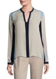 Elie Tahari Layne Colorblock Silk Blouse at Saks Fifth Avenue