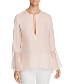 Elie Tahari Owen Silk Sheer-Cuff Blouse in Pink at Bloomingdales