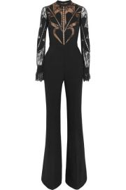 Elie Saab   Lace-paneled crepe jumpsuit at Net A Porter