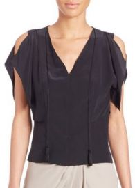 Elie Tahari - Brielle Silk Cold-Shoulder Top in Black at Saks Off 5th