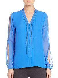 Elie Tahari - Emmy Embellished Silk Blouse in Oasis at Saks Fifth Avenue