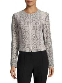Elie Tahari - Janet Python-Embossed Leather Jacket at Saks Fifth Avenue
