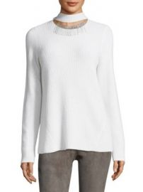 Elie Tahari - Oz Ribbed Choker Cashmere Sweater at Saks Off 5th