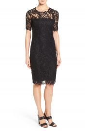 Elie Tahari  Bellamy  Illusion Yoke   Sleeve Lace Sheath Dress at Nordstrom
