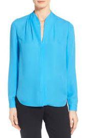 Elie Tahari  Judith  Split Neck Silk Georgette Blouse in Blue at Nordstrom