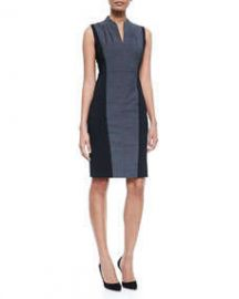 Elie Tahari Amabel Sleeveless Sheath Dress W Jersey Sides at Neiman Marcus