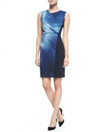 Elie Tahari Amymarie Sleeveless Swirl-Front Dress at Neiman Marcus