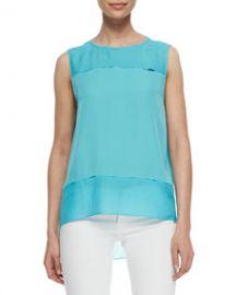 Elie Tahari Aneita Silk Chiffon Paneled Blouse Aqua at Neiman Marcus