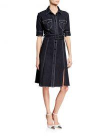 Elie Tahari Aurora Button-Front Elbow-Sleeve Belted Denim Dress at Neiman Marcus