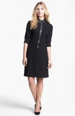 Elie Tahari Bella Leather Trim Shirtdress at Nordstrom