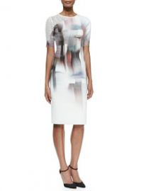 Elie Tahari Carla Graphic-Print Sheath Dress W Mesh Sleeve at Neiman Marcus
