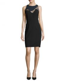 Elie Tahari Colby Mesh-Inset Sheath Dress   Neiman Marcus at Neiman Marcus