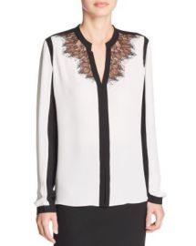 Elie Tahari Denise Lace Color Block Silk Blouse at Bloomingdales