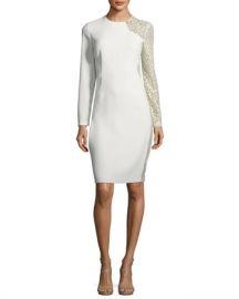 Elie Tahari Devalynne Long-Sleeve Lace-Side Dress at Neiman Marcus