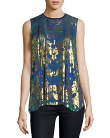 Elie Tahari Elle Sleeveless Metallic Floral Blouse at Neiman Marcus