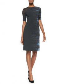 Elie Tahari Emory Half-Sleeve Dress W Mesh Shoulder at Neiman Marcus