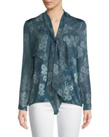 Elie Tahari Jurnee Tie-Neck Long-Sleeve Floral-Print Silk Blouse at Neiman Marcus