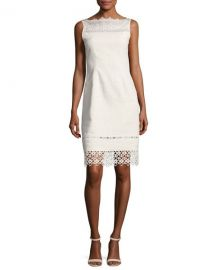 Elie Tahari Kallista Sleeveless Lace-Trim Sheath Dress at Neiman Marcus